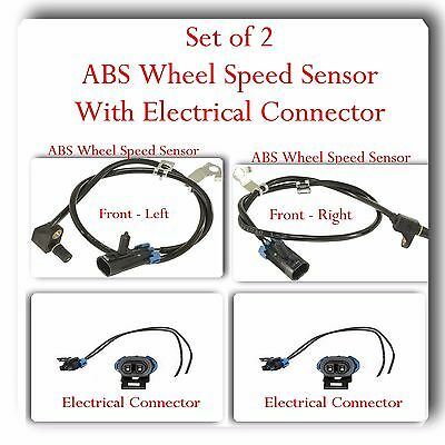 ABS Wheel Speed Sensor Front Left- Right w/Connector For:Cadillac Chevrolet GMC