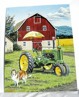 """John Deere """"Air Conditioned A"""" Metal Poster 16 x 12 1/2 inches"""