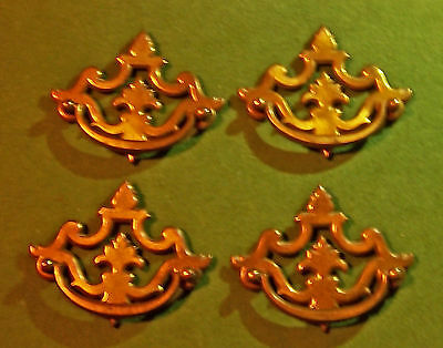"Vintage Brass Chippendale Drawer Pulls 3 1/2"" Bore Keeler N-1710 Fancy Drexel"