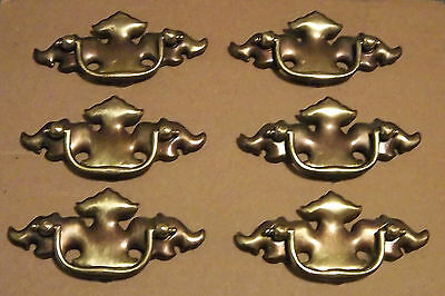 "Antique Chippendale Batwing Drawer Pulls 2 1/2"" Bore Set Of 6 Gold Brass Steel"