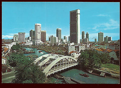 (10791) Singapore River & Skyscrapers.  Postcard