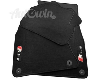 Audi A4 B8 Quattro 2009-2015 Black Floor Mats With Sline Logo With Clips LHD