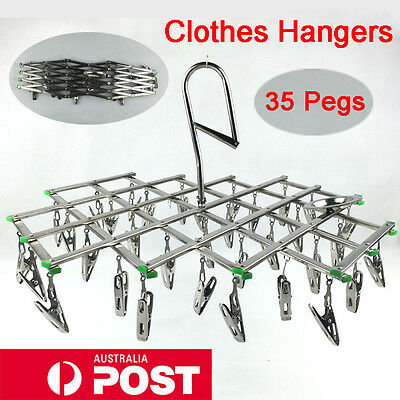 35 Pegs Swivel Hook Socks Underwear Gloves Drying Rack Clothes Hanging Hanger AU