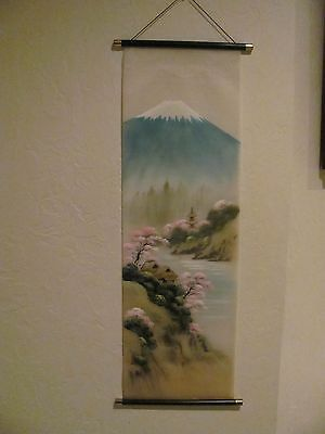 Chinese Painting On Silk Scroll Landscape Signed