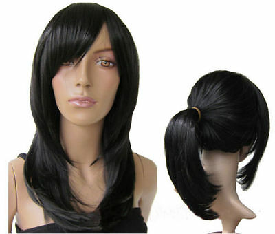 Heat Resistent Long Black Straight Cosplay Party Hair Wig Natural braid ponytail