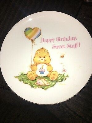 "Vintage Care Bears Plate: ""Happy Birthday, Sweet Stuff!"" 1983, Porcelain, 5 1/4"""
