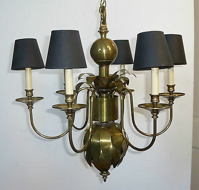 Vintage Brass CHANDELIER Light with Black Lamp Shades PINEAPPLE STYLE