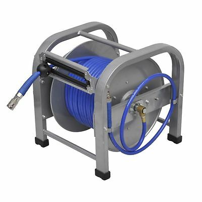 "Automatic Pneumatic 98' 5"" 300 PSI Retractable Air Compressor PU Hose Reel"