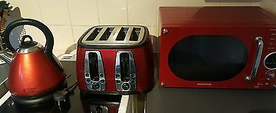 red microwave kettle and toaster set