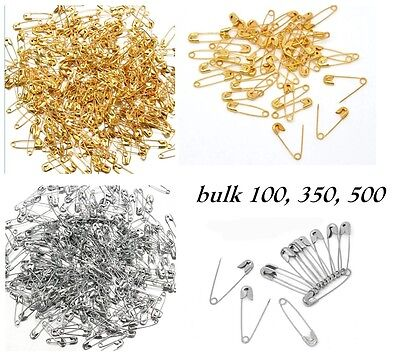 Bulk 100/350/500 Small SAFETY PINS Gold Silver 19/31mm Craft Dressmaking Sewing