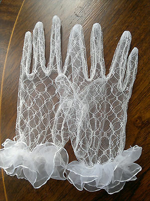 Ladies Elegant Lace Wedding Party Prom Short  Ball  Gloves White/Ivory Small