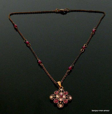 Dunkle Metall Farbe rosa & lila Strass & Kristall Anhänger Halskette Collier