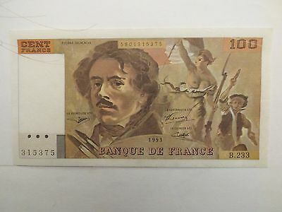 French 100 Franc bank note 1993