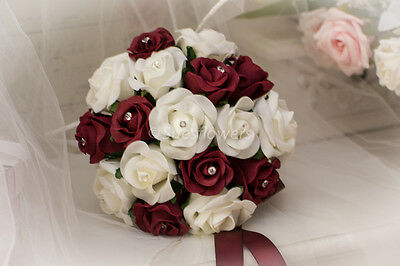 Wedding Flowers Bridesmaid Bouquet In Burgundy And Ivory Roses