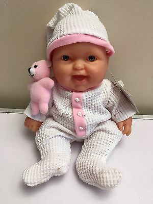 Very Realistic Berenguer Baby Girl Doll 21cm Tall In New Outfit Vinyl Body VGC