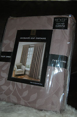 """NEW TK MaXX  Latte coloured  jacquard leaf curtains fully lined 46""""X72"""""""