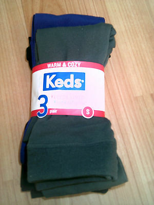 Girls Keds Fleece lined Footless Tights Size Small 3 Pairs