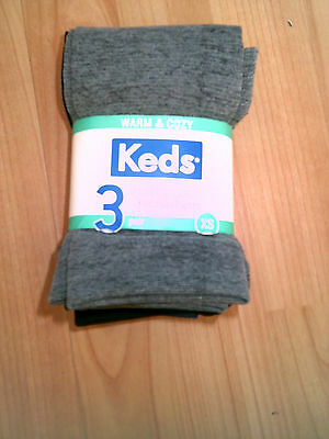 3 Pairs Girls KEDs Fleece Lined Footless Tights Size XS 2-4  Grey/Blue/Black