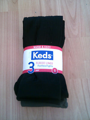 3 pairs Girls Keds Fleece Lined Footless Tights Sizes S And XS Available (S-1)