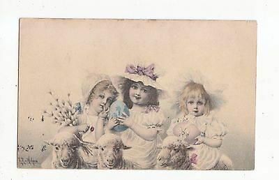 Charming Postcard Of  Three Little Children And Lambs-M M Vienne