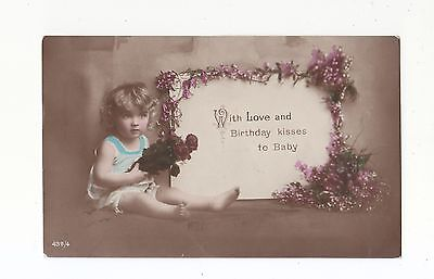CHARMING POSTCARD OF A BAREFOOT BABY BIRTHDAY KISSES TO BABY CARD No 43a /4