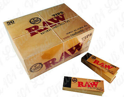 Genuine Raw Rolling Paper Tips Box of 50 Packs Roach Full Box 50 PER Booklets