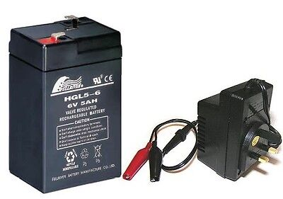 Toy Car Battery and Charger Combo 6v 4.5ah Battery & 6 Volt Mains Charger