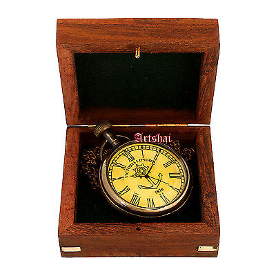 Exclusive mens pocket watch with sheesham box. Hand-made with long chain