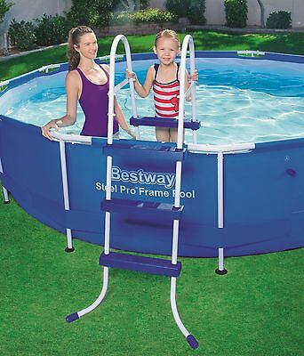 Brand NEW 3 Step Iron Tube Plastic Steps Above Ground Swimming Pool Ladder 58393