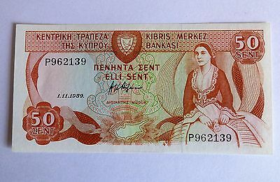 Bank note- Cyprus- 50 cents. 1989 E.F