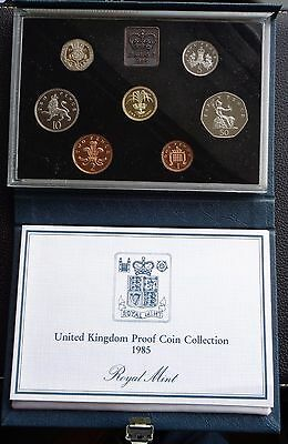 1985 Royal Mint Proof Coin Set Blue Deluxe with COA Ref 1