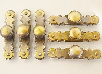 "Vintage Brass Knob Attached Back plate Drawer Pull  3.5"" Center  F1-3832-101"