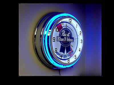 "Pabst Blue Ribbon Blue Neon Clock - 19"" Diameter  Free Shipping"