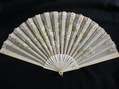 Large Antique Painted Fan With Lace And Sequin Decoration 13.75  Inch / 35Cm