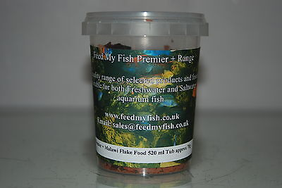 Aquarium Cichlid Malawi Flake Specialist Flake Fish Food 520 ml Tub Approx 70g