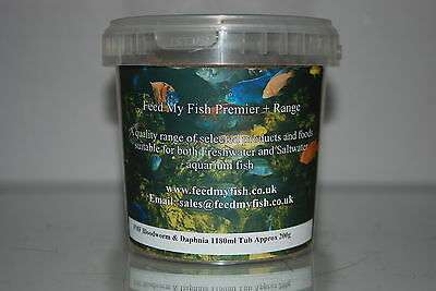Aquarium Dried Bloodworm & Daphnia 1180 ml Tub Approx 200g Fish Birds Reptiles