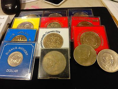 World Commemorative Coins - Large to Crown Size  x 13