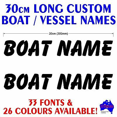 2x30cm long jetski,P.W.C,tinny,runabout,marine CUSTOM BOAT NAME decal stickers!