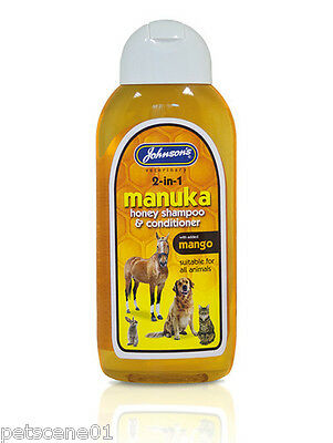 JOHNSONS MANUKA HONEY SHAMPOO & CONDITIONER + MANGO 200ml DOG HORSE CAT RABBIT