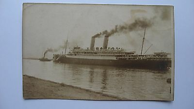 Old vintage Postcard Two Funnel Steam Ship  Real Sepia Photograph