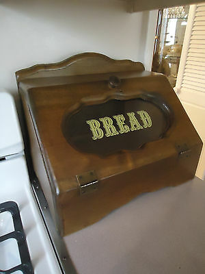 Vintage Wood Wooden Bread Box with Glass