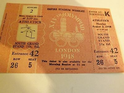 1948 London Olympic Games athletics ticket,Mint condition Unused Super Rare L@@K