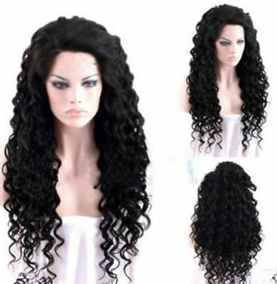 Hot Women Long Black Curly Wavy Heat Resistant Cosplay Party Sexy Hair Full Wigs