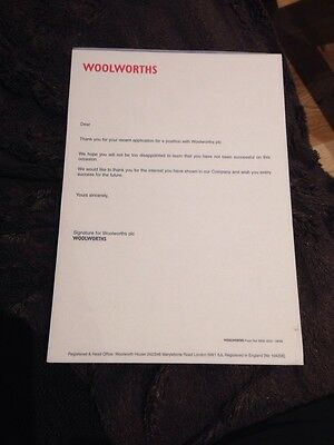 Woolworths Memorabilia-Copy Of Company Rejection Letter - VERY RARE