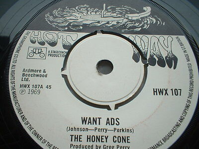 The Honey Cone Want Ads Hot Wax  Label In Ex Condition
