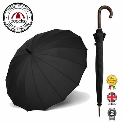 Classic Large Mens Black Manual Open Strong Cane Walking Stick Umbrella
