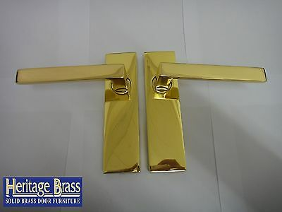Heritage Brass Delta Lever Latch Handles With Concealed Fixings Polished Brass