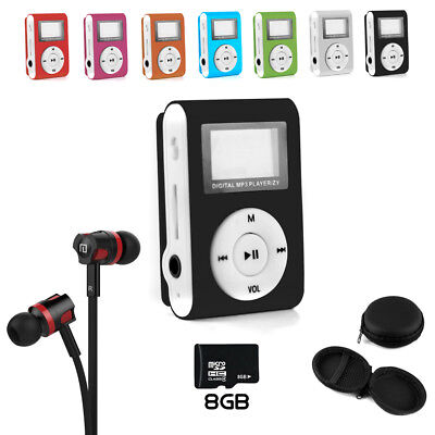 NEOGADS Mp3 Player LCD Clip Set + BASS Headset + 8GB Micro SD Karte + Etui
