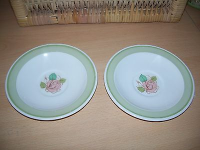 Susie Cooper Patricia Rose Green Border - Pair of Saucers - apparently rare