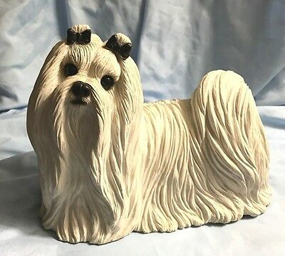 1987 Large & Rare MALTESE w/Glass Eyes by SANDRA BRUE for SANDICAST of SAN DIEGO